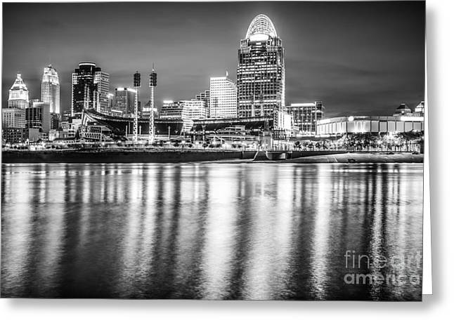 Cincinnati Skyline Black And White Picture Greeting Card by Paul Velgos