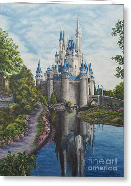 Magic Kingdom Greeting Cards - Cinderella Castle  Greeting Card by Charlotte Blanchard