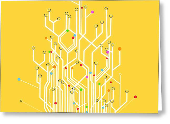 Innovation Greeting Cards - Circuit Board Graphic Greeting Card by Setsiri Silapasuwanchai