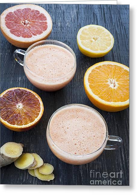 Citrus Smoothies Greeting Card by Elena Elisseeva