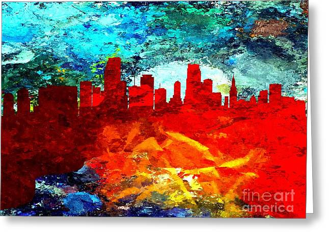 Abstract Style Greeting Cards - City of Miami Grunge Greeting Card by Daniel Janda