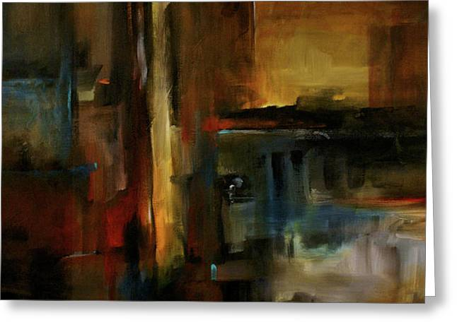 Geometric Design Greeting Cards - City on Fire Greeting Card by Michael Lang