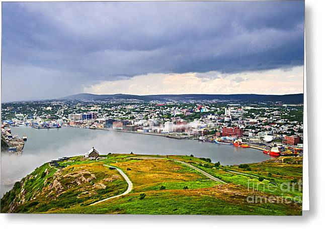 Foggy Ocean Greeting Cards - Cityscape of Saint Johns from Signal Hill Greeting Card by Elena Elisseeva