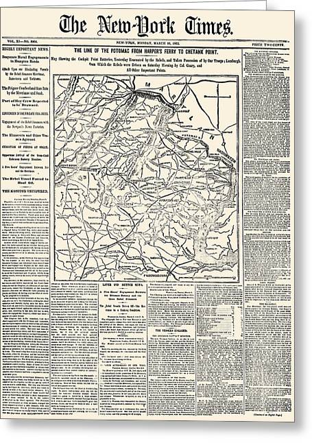 Front Page Greeting Cards - Civil War Map: Virginia Greeting Card by Granger