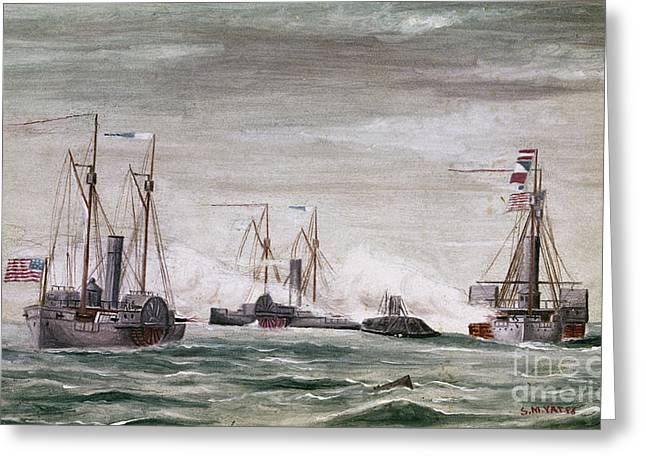 Uss North Carolina Greeting Cards - Civil War: Naval Battle Greeting Card by Granger