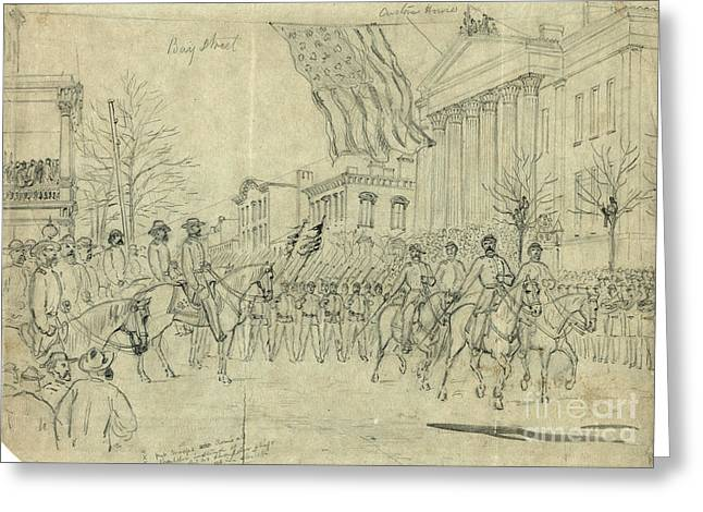 War Drawing Greeting Cards - Civil War: Savannah, 1864 Greeting Card by Granger