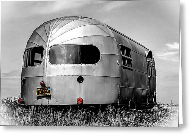 Canvas Wall Art Greeting Cards - Classic Airstream caravan Greeting Card by Ian Hufton