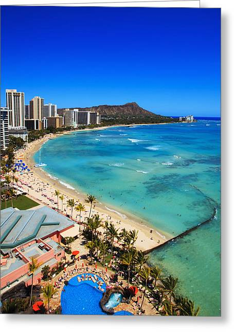 Best Sellers -  - Surf City Greeting Cards - Classic Waikiki Greeting Card by Tomas del Amo - Printscapes