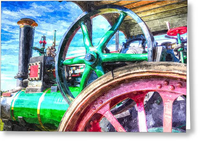 Clayton Greeting Cards - Clayton and Shuttleworth Traction Engine Art Greeting Card by David Pyatt