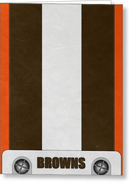 Cleveland Browns Helmet Art Greeting Card by Joe Hamilton