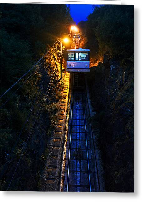 Incline Greeting Cards - cliff railway of funicular of La Reineta Greeting Card by Mikel Martinez de Osaba