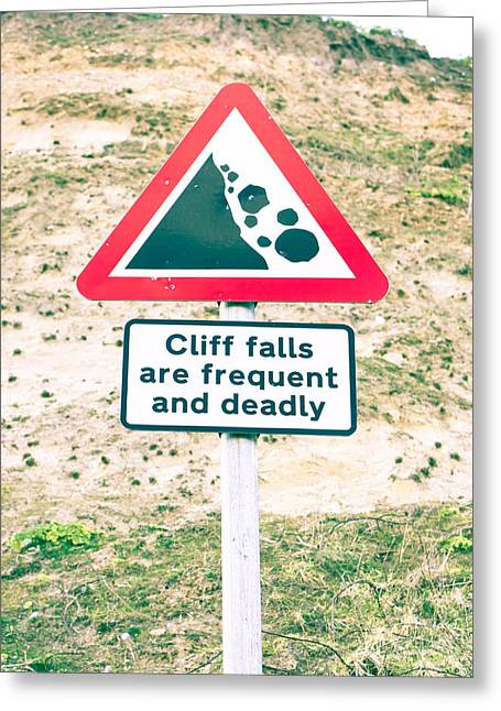 Border Photographs Greeting Cards - Cliff warning Greeting Card by Tom Gowanlock