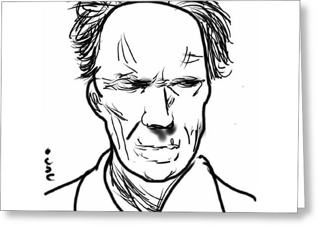 Clint Greeting Cards - Clint Eastwood Greeting Card by Nuno Marques