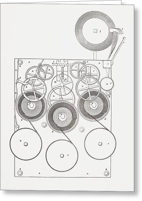 Mechanism Drawings Greeting Cards - Clock With Chimes. From The Cyclopaedia Greeting Card by Vintage Design Pics