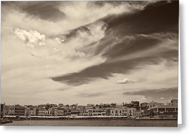 Panoramic Ocean Greeting Cards - Clouds Over Chania Greece Greeting Card by Felix Langenberg