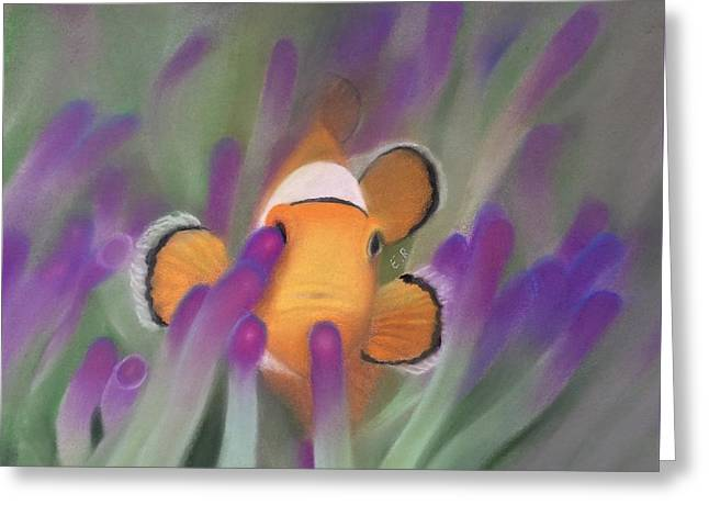 Reef Fish Mixed Media Greeting Cards - Clownfish Peaking Out  Greeting Card by Eric Rosales
