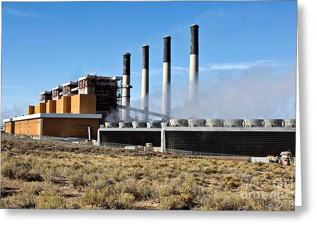 Jim Bridger Greeting Cards - Coal Fired Power Plant Greeting Card by Inga Spence