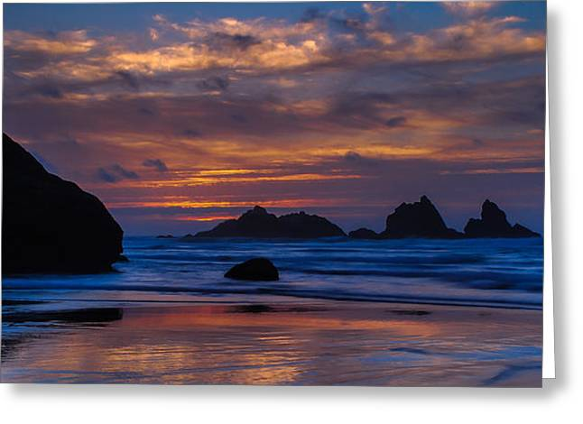 Panoramic Ocean Greeting Cards - Coast Sunset Greeting Card by Jeff Waddell