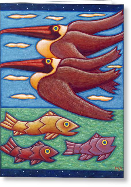 Recently Sold -  - Decorative Fish Greeting Cards - Coastal Cruisers Greeting Card by Mary Anne Nagy