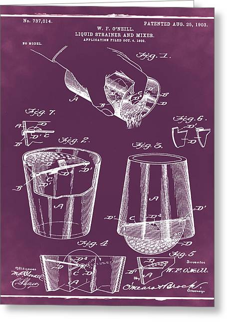 Cocktail Mixer Patent 1903 In Chalk Greeting Card by Bill Cannon