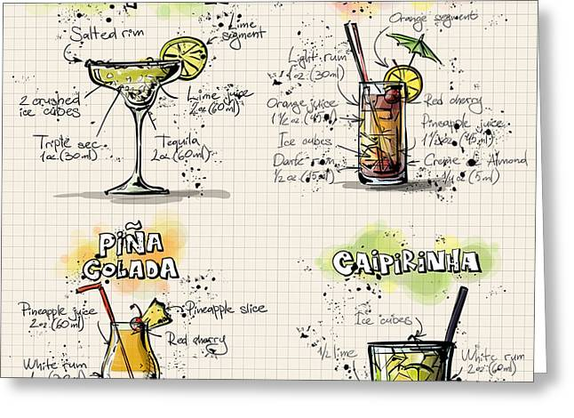 Bartender Drawings Greeting Cards - Cocktail Recipes Greeting Card by Alexas Fotos