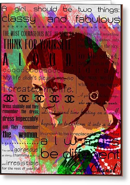 Recently Sold -  - Powder Greeting Cards - Coco Chanel quotes Greeting Card by Nostalgic Art