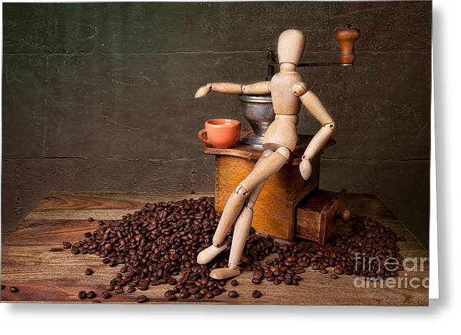 Coffee Break Greeting Card by Nailia Schwarz