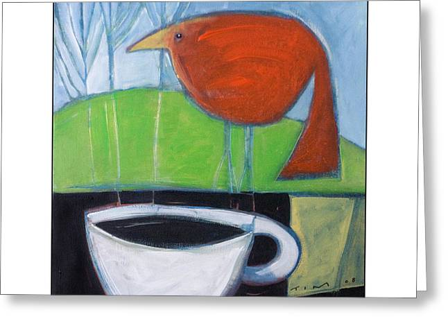 Nyberg Greeting Cards - Coffee with Red Bird Greeting Card by Tim Nyberg