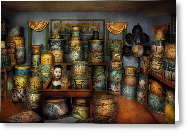 Mad Hatter Greeting Cards - Collector - Hats - The hat room Greeting Card by Mike Savad