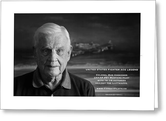 Colonel Bud Anderson United States Fighter Ace Legend - Then And Now. Greeting Card by John Martin Bradley
