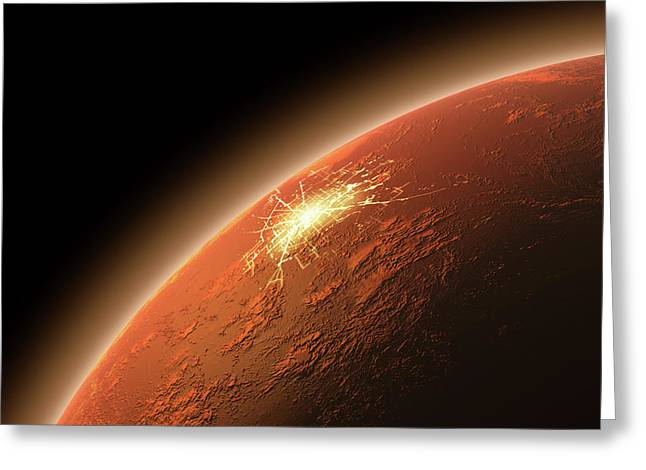 Colonization Of Mars Greeting Card by Allan Swart