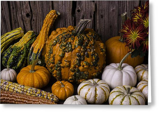 Mottled Greeting Cards - Colorful Autumn Still Life Greeting Card by Garry Gay