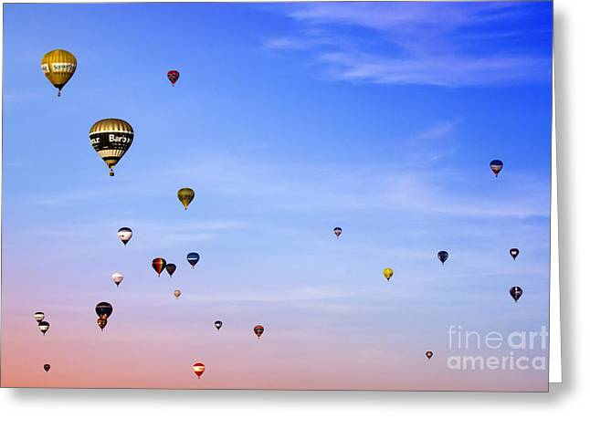 Balloon Fiesta Greeting Cards - Colorful balloons on colorful sky Greeting Card by Angel  Tarantella