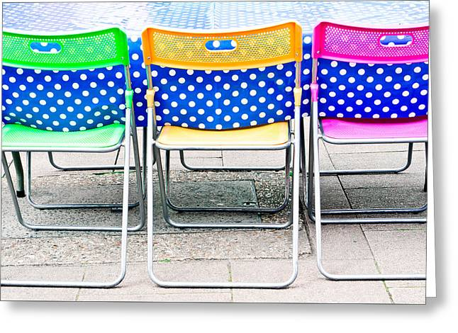 White Cloth Greeting Cards - Colorful chairs Greeting Card by Tom Gowanlock