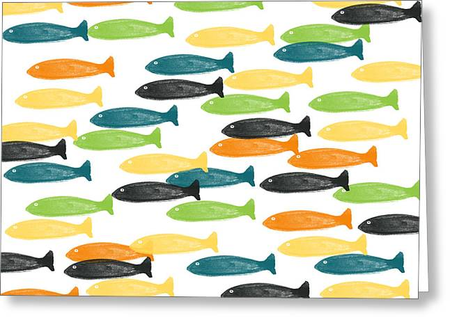 Blue And Orange Greeting Cards - Colorful Fish  Greeting Card by Linda Woods