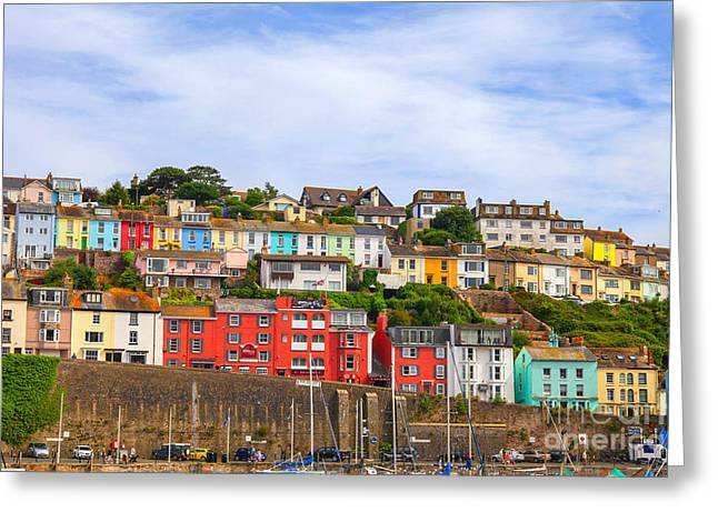 Fishing Boats Greeting Cards - Colorful houses in Brixham England Greeting Card by Patricia Hofmeester