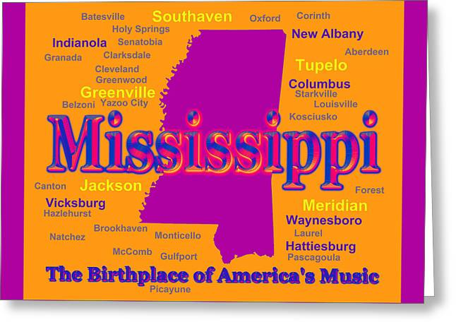 Mississippi Map Greeting Cards - Colorful Mississippi State Pride Map Silhouette  Greeting Card by Keith Webber Jr