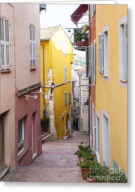Stepping Stones Greeting Cards - Colorful old street in Villefranche-sur-Mer Greeting Card by Elena Elisseeva