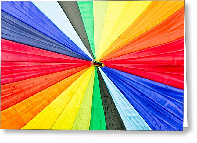 People Greeting Cards - Colorful umbrella Greeting Card by Tom Gowanlock