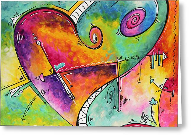 Licensor Greeting Cards - Colorful Whimsical PoP Art Style Heart Painting Unique Artwork by Megan Duncanson Greeting Card by Megan Duncanson