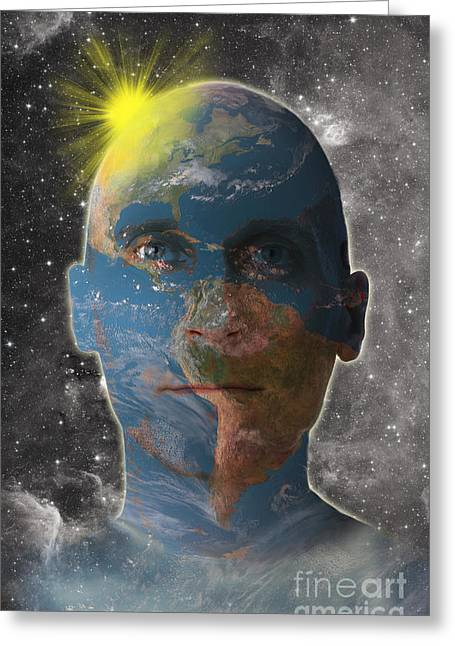 Humankind Greeting Cards - Conceptual Illustration Of Man As Earth Greeting Card by George Mattei