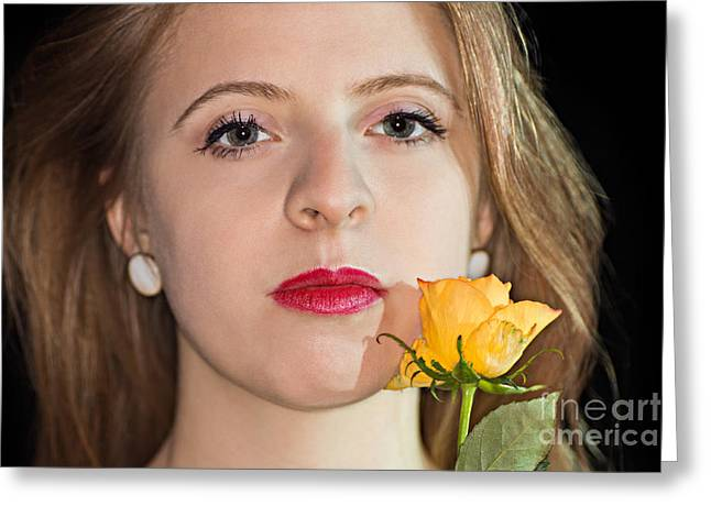 Women Only Greeting Cards - Confident Woman With Yellow Rose Greeting Card by Gregory DUBUS