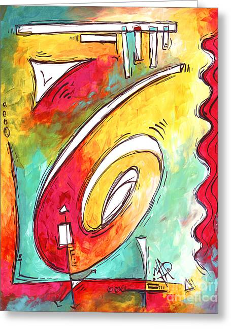 Licensor Greeting Cards - Contemporary Abstract PoP Art Style Original Painting Enjoy Life by Megan Duncanson Greeting Card by Megan Duncanson