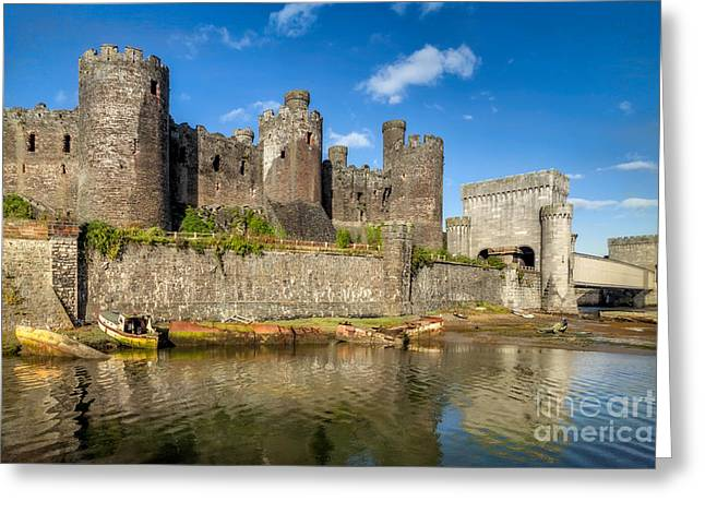 Battlement Greeting Cards - Conwy Castle Greeting Card by Adrian Evans