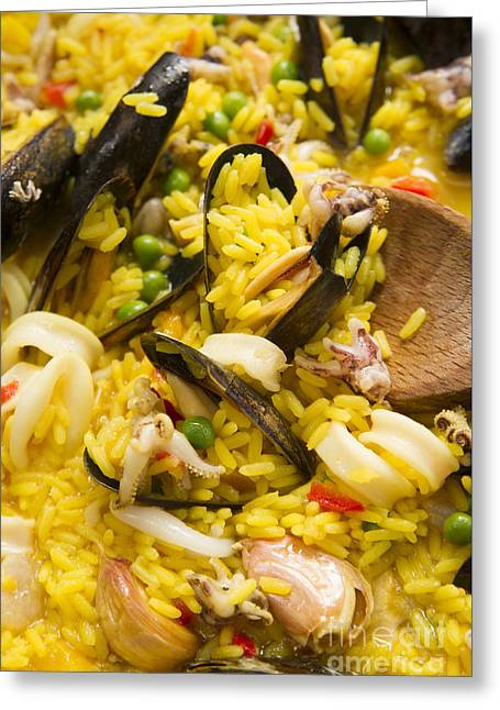 Menu Greeting Cards - Cooking paella Greeting Card by Marco Guidi