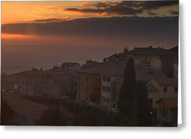 Italian Sunset Greeting Cards - Cortona Sunset Greeting Card by Al Hurley