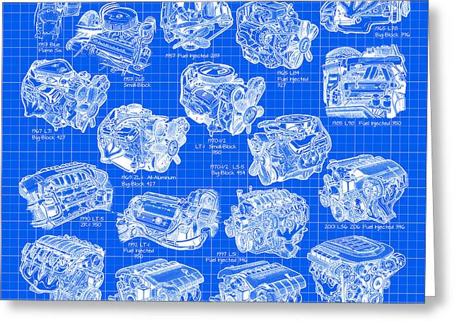 Block Print Art Digital Art Greeting Cards - Corvette Power - Corvette Engines from the Blue Flame Six to the C6 ZR1 LS9 Greeting Card by K Scott Teeters