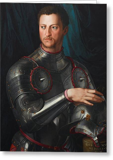 Bronzino Agnolo Greeting Cards - Cosimo I de Medici in armour Greeting Card by Agnolo Bronzino