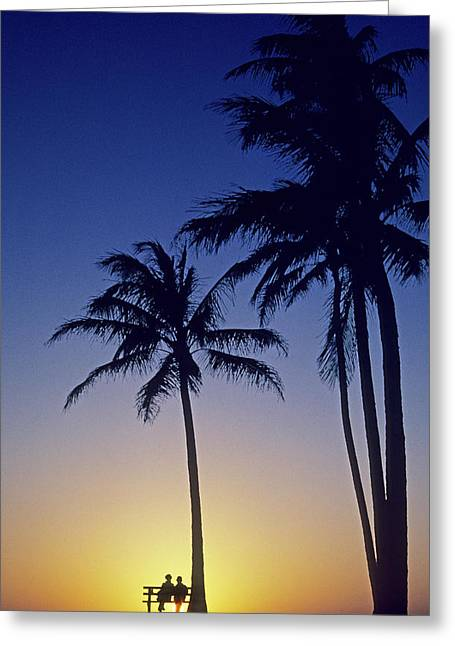 Calming Beach Photos Greeting Cards - Couple And Sunset Palms Greeting Card by Carl Shaneff - Printscapes