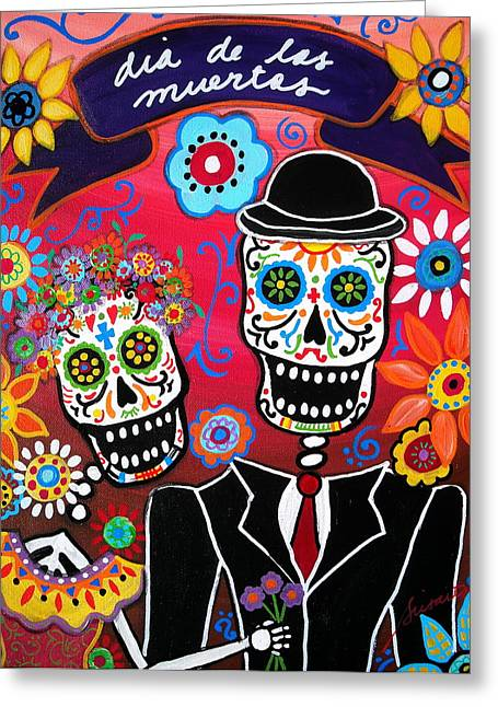 Wedding Couple Day Of The Dead Dia De Los Muertos Anniversary Gift Te Amo Prisarts Pristine Cartera Turkus Bride Flowers Blooms Love Mexican Art Folk Town For Sale Original Greeting Cards - Couple Day Of The Dead Greeting Card by Pristine Cartera Turkus